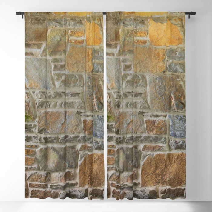 Avondale Brown Stone Wall and Mortar Texture Photography Blackout Curtain