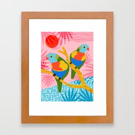 Besties - retro throwback memphis bird art pattern bright neon pop art abstract 1980s 80s style mini Framed Art Print
