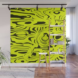 Juicy flowing spots of yellow lines on black. Wall Mural