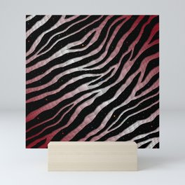 Ripped SpaceTime Stripes - Burgundy/White Mini Art Print