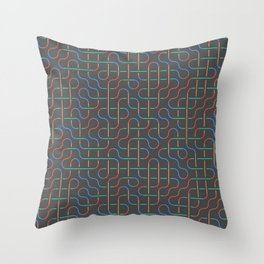 Colored Swirl Lines on Grey Background Throw Pillow