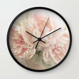 Shabby Chic Cottage Pastel Pink Peony Prints and Peony Home Decor Wall Clock