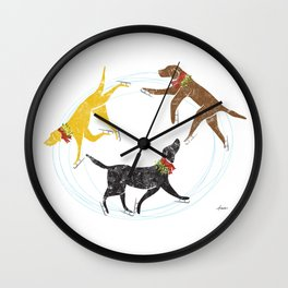 Labradors skating holiday artwork Wall Clock