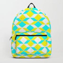 Turquoise & Yellow Diamonds Inverted Backpack