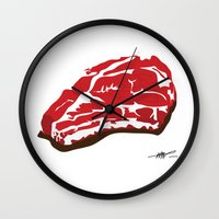 meat Wall Clocks featuring meat by Takeru Amano