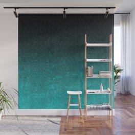 Aqua & Black Glitter Gradient Wall Mural