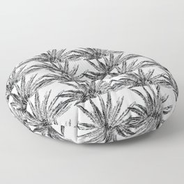 Abstract Palm Leaves in black and white Floor Pillow
