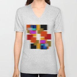 Simple Squares Pure Color Unisex V-Neck