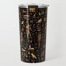 Ancient Egyptian Hieroglyphics Obsidian Copper Travel Mug
