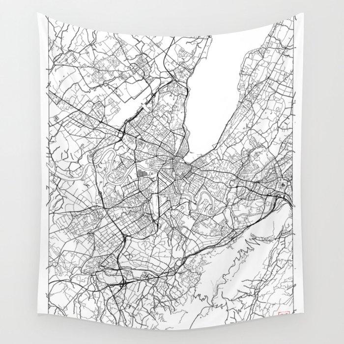 Geneva Map White Wall Tapestry