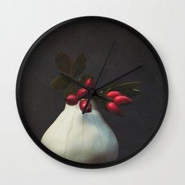 Rosehips in vase Wall Clock