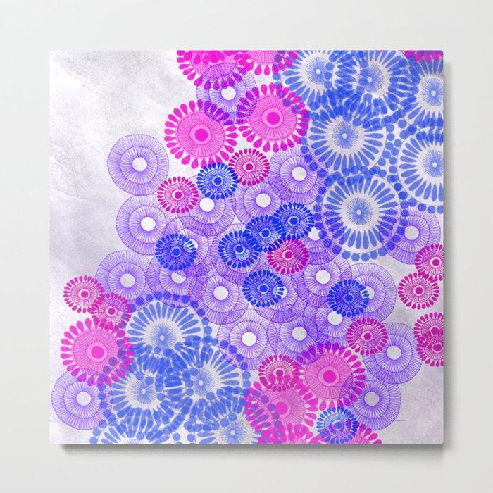 Flower Power Blue Metal Print