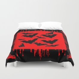 RED HALLOWEEN BATS ON BLEEDING RED ART DESIGN Duvet Cover