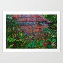 Brick Shed Green Foliage Art Print