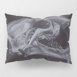 White pencil sabre-toothed tiger smilodon skull drawing Pillow Sham