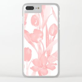 Blush Pink Tulips in Watercolor Clear iPhone Case