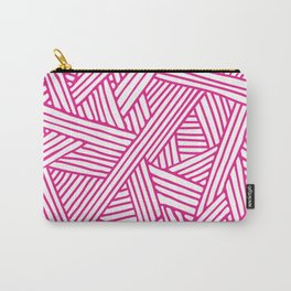 Abstract pink & white Lines and Triangles Pattern-Mix and Match with Simplicity of Life Carry-All Pouch