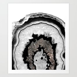 Gray Black White Agate with Silver Glitter #1 #gem #decor #art #society6 Art Print