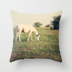 It's not a unicorn! It's a white horse! Throw Pillow