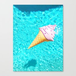 pink ice cream cone float all up in my pool yo Canvas Print