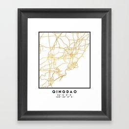 QINGDAO CHINA CITY STREET MAP ART Framed Art Print