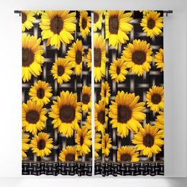 Bright Yellow Sunflower and Industrial Grid Pattern Blackout Curtain