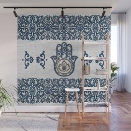 Hamsa Hand Hand of Fatima blue wood Wall Mural
