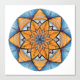 Sapphire-Gold Mandala (on white) Canvas Print
