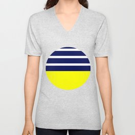 Summer Patio Perfect, Yellow, White & Navy Unisex V-Neck