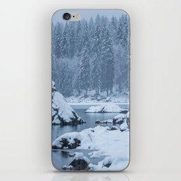 Heavy snow fall lake Fusine, Italy iPhone Skin