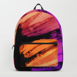 Sunset Oranges to Magenta Abstract Brushstrokes Backpack