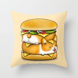 Double Corgi Pounder Throw Pillow