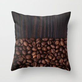 Coffee beans on dark wood background Throw Pillow