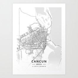 Cancun, Mexico - Light Map Art Print