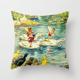 """""""Duck Racing in the Pond"""" by Margaret Tarrant Throw Pillow"""