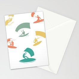 Kitesurfing Colorful Kitesurfers Stationery Cards
