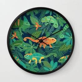 Chameleons in Jungle Wall Clock