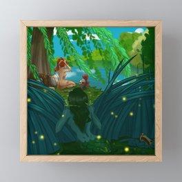 Naiad spying on a bathing knight Framed Mini Art Print