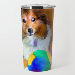 Sheltie with Ball Travel Mug
