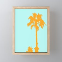 Orange palm trees silhouettes on blue Framed Mini Art Print