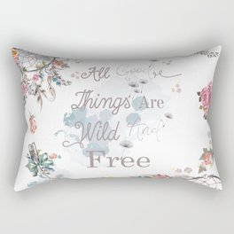 Boho stylish design. All good things are free and wild Rectangular Pillow