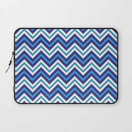 Chevron Pattern | Zig Zags | Blue, Black and White | Laptop Sleeve