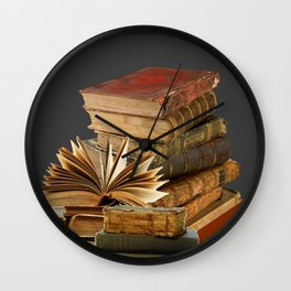DECORATIVE  ANTIQUE LEDGERS, LIBRARY BOOKS art Wall Clock