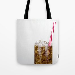 Fizzy Drink With Ice Against a White Background Tote Bag