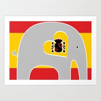 spanish Art Prints featuring Spanish Elephant by Elephant Love