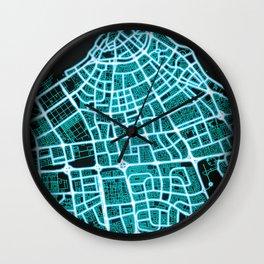 Kuwait City, Kuwait, Blue, White, Neon, Glow, City, Map Wall Clock