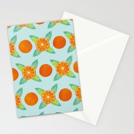 Watercolor Oranges Pattern in Blue Stationery Cards