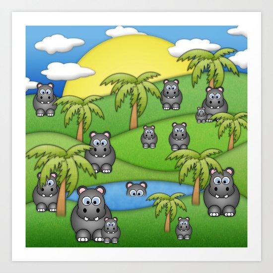 Hippos. Art Print