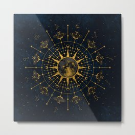 Steampunk Zodiac with Sun and Moon (Blue) Metal Print