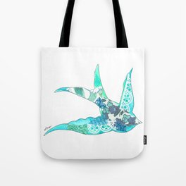 Light Blue Swallow Tote Bag